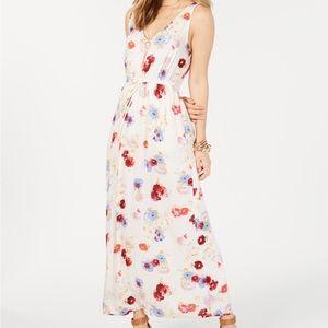 NWT Lucky Brand Floral V Neck Maxi Dress